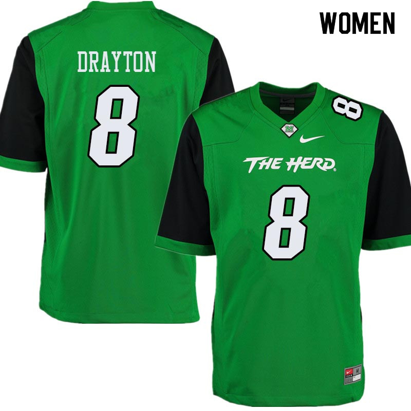 Women #8 Brandon Drayton Marshall Thundering Herd College Football Jerseys Sale-Green